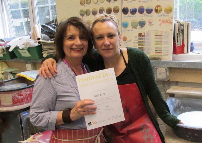 Lesley Scobe and me at HCC ceramic studio